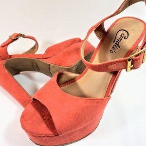Bright Coral Suede finish Candies Platform Heels 8